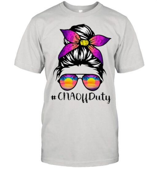 Beach Summer Sunglasses Messy Bun Mom CNA Off Duty shirt