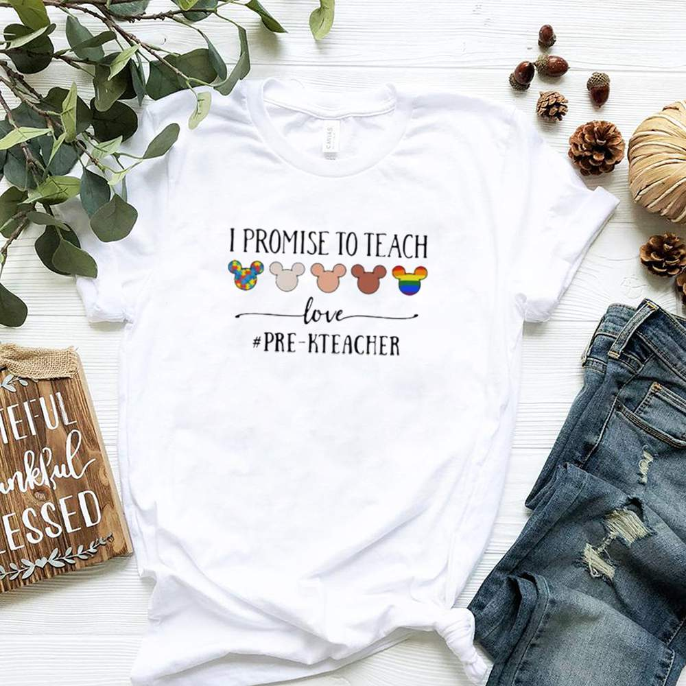 I Promise To Teach Love Pre Kteacher Autism LGBT Shirt