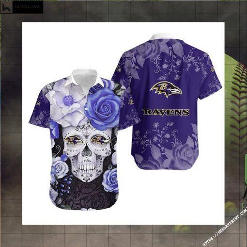 Baltimore Ravens Skull NFL Gift For Fan Hawaiian Graphic Print Short Sleeve Hawaiian Shirt