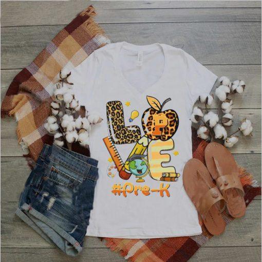 Love Pre K Back To School Apple LeoLove Pre K Back To School Apple Leopard Shirtpard Shirt