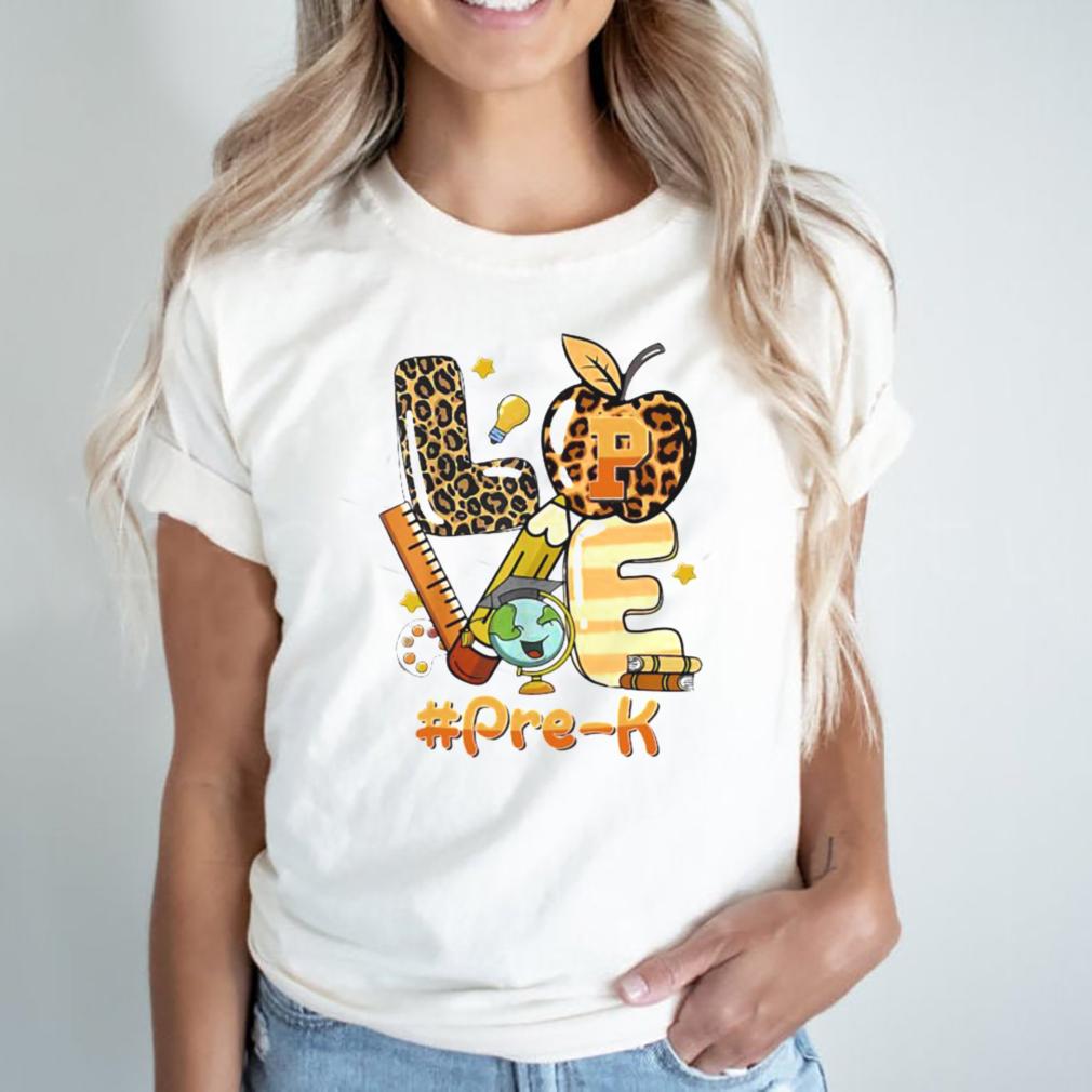 Love Pre K Back To School Apple Leopard Shirt