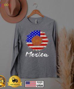 Merica American Flag Sunflower 4th July T Shi
