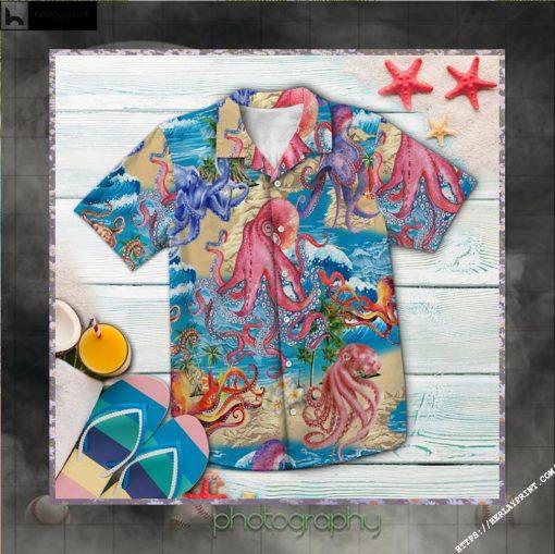 Octopus Summer Vacation Hawaiian Shirt Short