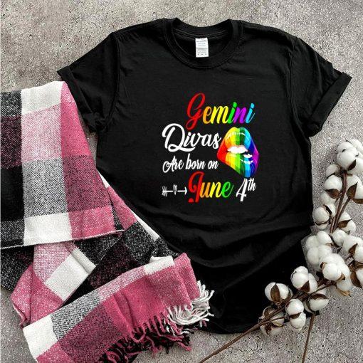 Rainbow Lips Divas Are Born On June 4th Gemini Girl Birthday shirt