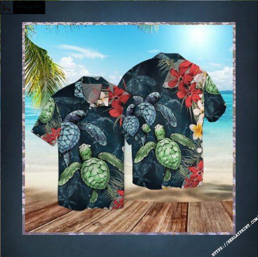 Sea Turtle Floral Hawaiian Shirt - Short