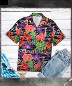 Tropical Leaves Flamingo Hawaiian Shirt Short