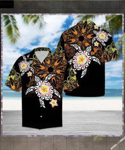 Turtle Floral Hawaiian Shirt Short