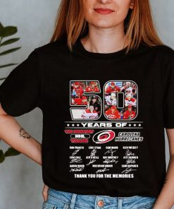 50 Years Of The greatest NHL Teams Carolina Hurricanes Signatures Thank You For The Memories Shirt