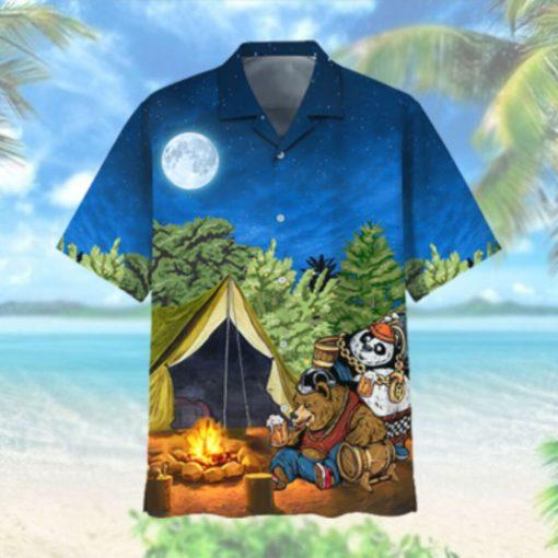 Bear Camping Hawaiian Shirt Tshirt 3D Hawaiian Shirts