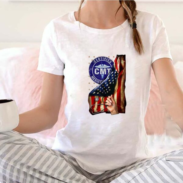 Cmt certified medication technician nurse american flag pride hand T-Shirt 6