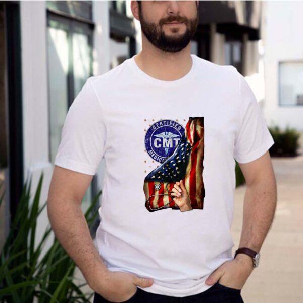 Cmt certified medication technician nurse american flag pride hand T-Shirt 5