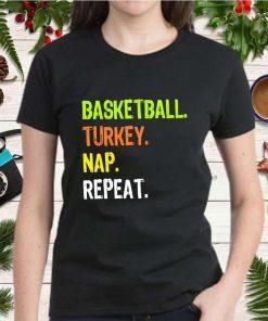 Funny Thanksgiving design Basketball Turkey Nap Repeat T Shirt 2