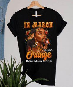 In March We Wear Orange Multiple Sclerosis Afro Black Women T-Shirt