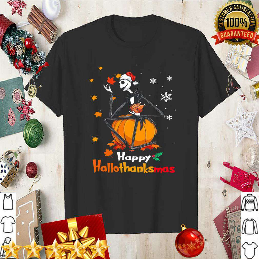 Jack Skellington With Santa Hat Happy Hallothanksmas shirt 5