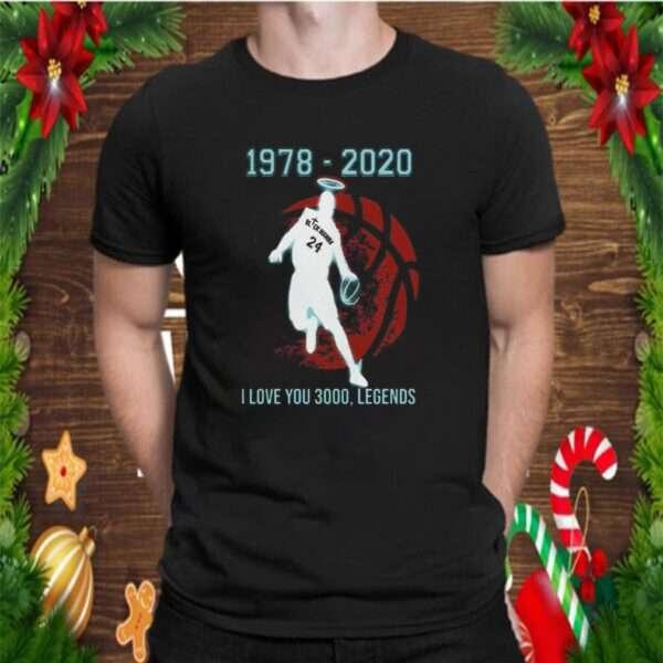 Kobe Bryant Black Mamba 1978 2020 I Love You 3000 Legends shirt