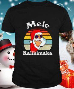 Mele Kalikimaka Retro Christmas Santa Shaka Hawaii