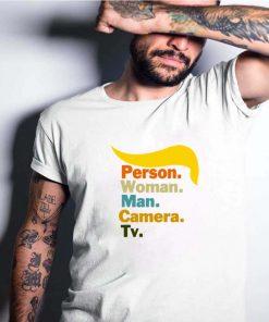 Person Woman Man Camera TV Cognitive Test Shirt Trump Words