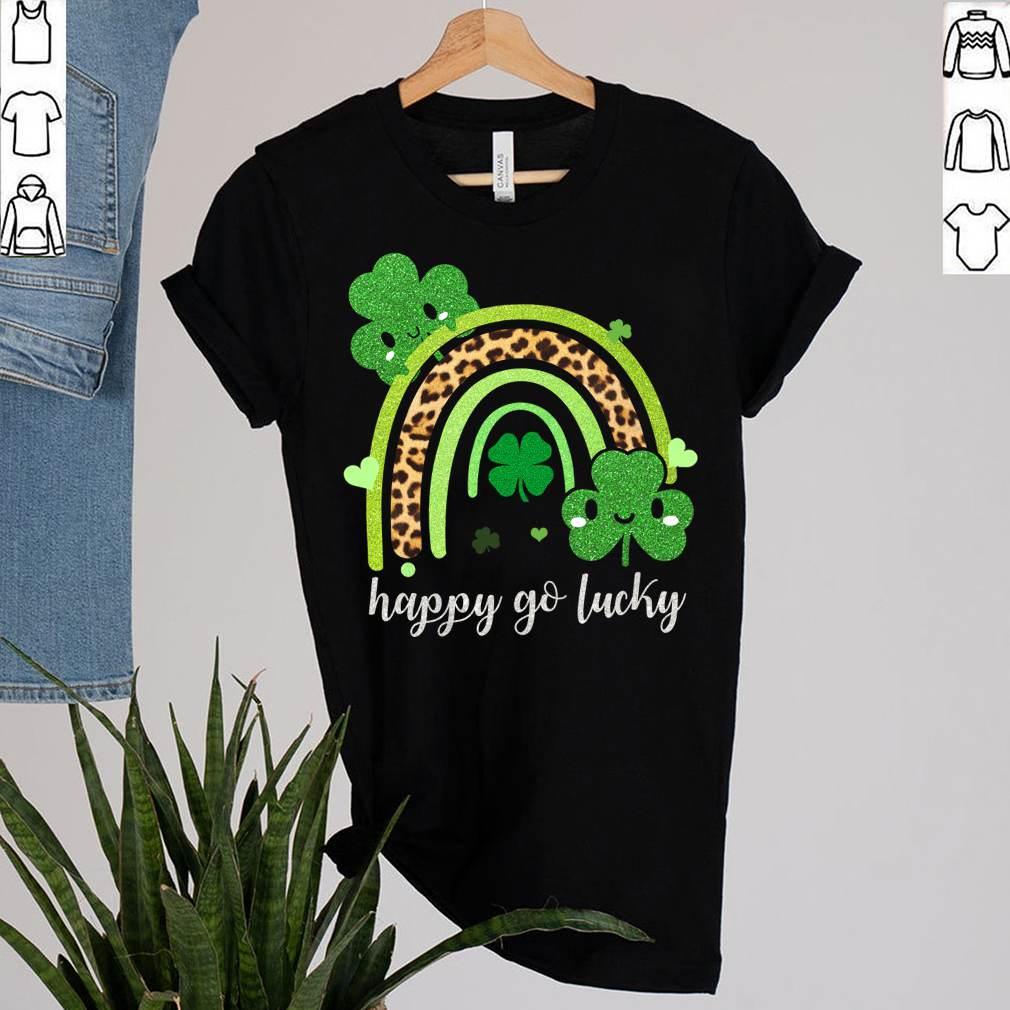 Rainbow St Patricks Day Shirt Leopard Print Happy Go Lucky T-Shirt