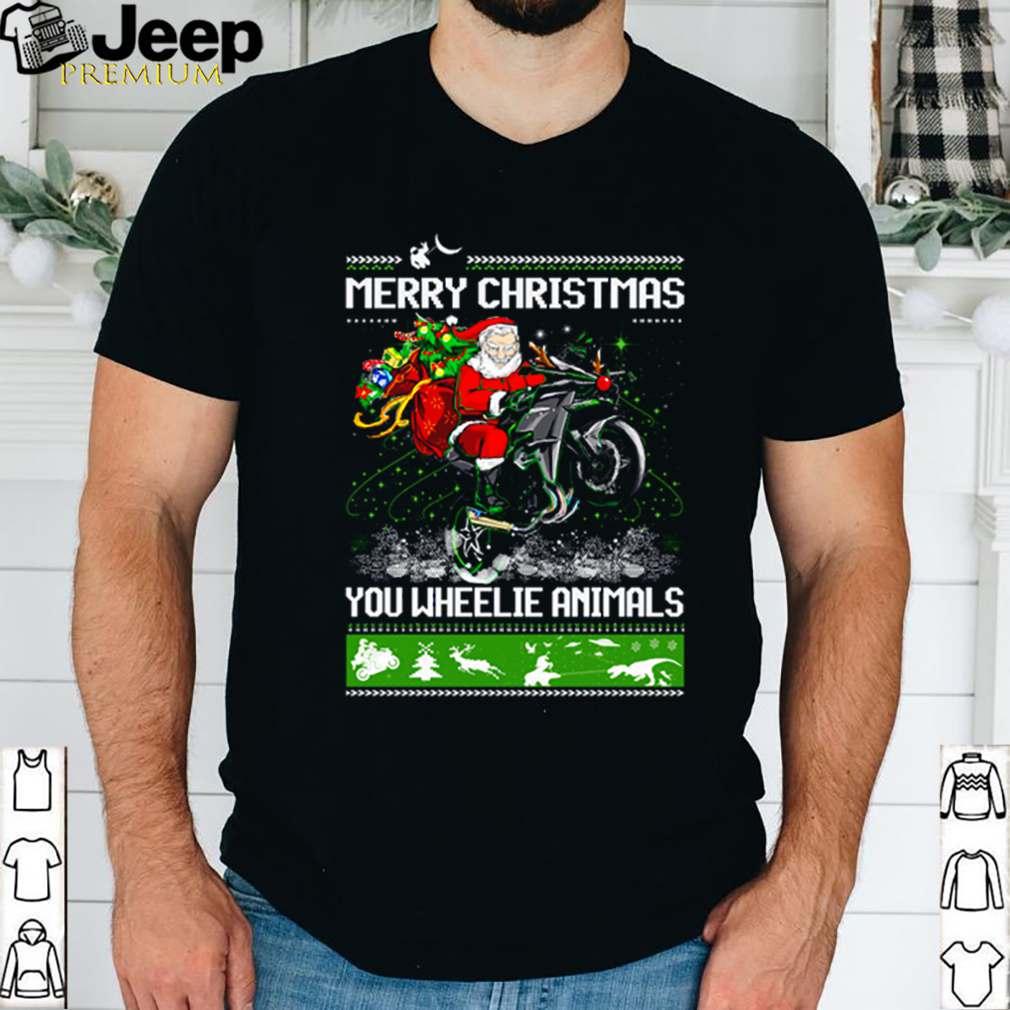 Santa claus Motorcycle merry Christmas you wheelie animals