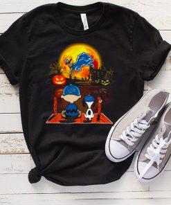 Snoopy and Charlie Brown Pumpkin Detroit Lions Halloween Moon shirt