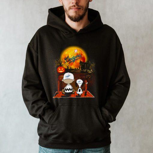 Snoopy and Charlie Brown Pumpkin Los Angeles Dodgers Halloween Moon shirt