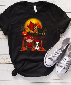 Snoopy and Charlie Brown Pumpkin Louisville Cardinals Halloween Moon shirt