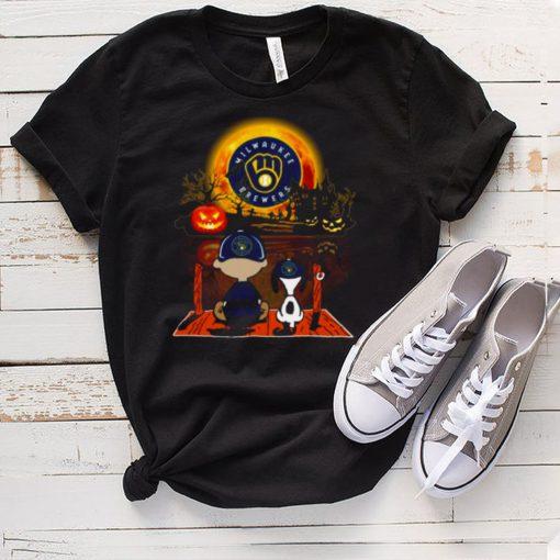 Snoopy and Charlie Brown Pumpkin Miami Milwaukee Brewers Halloween Moon shirt