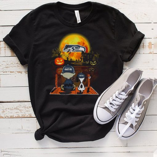 Snoopy and Charlie Brown Pumpkin Seattle Seahawks Halloween Moon shirt