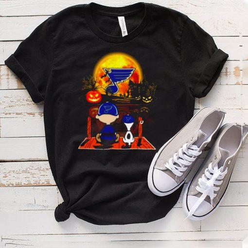 Snoopy and Charlie Brown Pumpkin St. Louis Blues Cardinals Halloween Moon shirt
