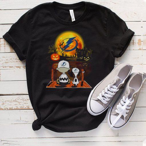 Snoopy and Charlie Brown Pumpkin Tampa Bay Lightning Halloween Moon shirt