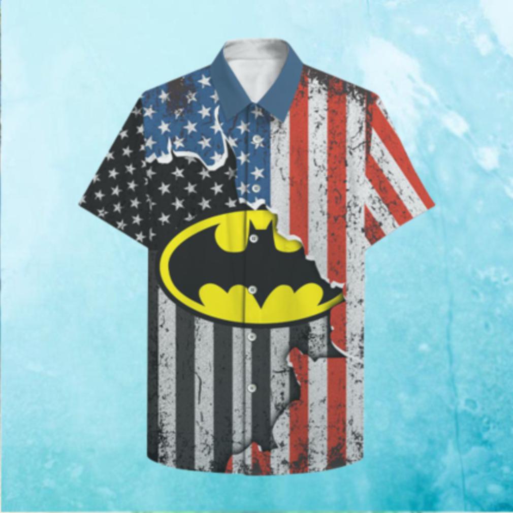 US flag Batman Logo Hawaiian Shirt 3D T Hawaiian Shirt
