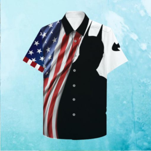 US flag and Batman Shadow Hawaiian Hawaiian Shirt