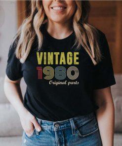 Vintage 1980 Original Parts Funny 40th Birthday Gift T-Shirt (2) 7