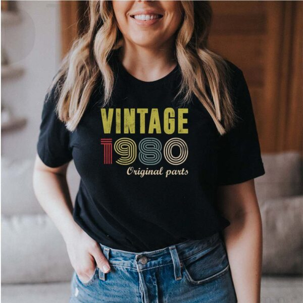 Vintage 1980 Original Parts Funny 40th Birthday Gift T-Shirt (2) 5