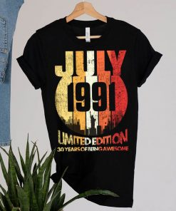 Vintage July 1991 Funny 30th Birthday 30 Years Old Gift T-Shirt