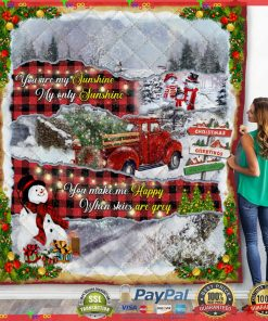 You Are My Sunshine. Red Truck Christmas Quilt Blanket