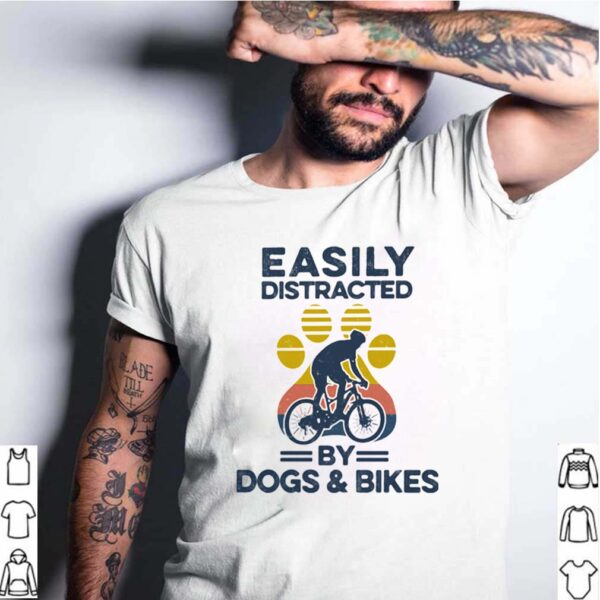 Easily Distracted By Dogs And Bikes Footprint Vintage Retro