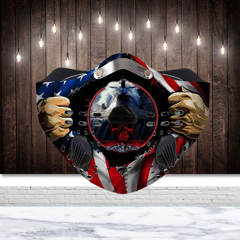 United states navy submarine force american flag filter activated carbon face mask