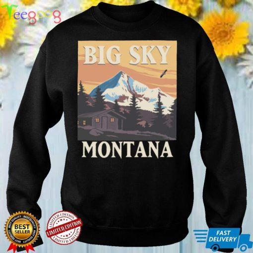 America Big Sky Montana Country Retro Vintage Style Travel Shirt