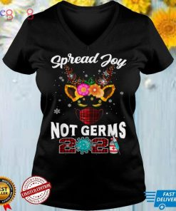 Funny Christmas 2021 Reindeer In Mask Spread Joy Not Germs T Shirt