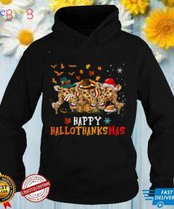 Happy HalloThanksMas Cute Santa Witch Turkey Giraffe T Shirt