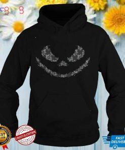 Jack O Lantern Scary Pumpkin Face Floral Lace Print Womens T Shirt