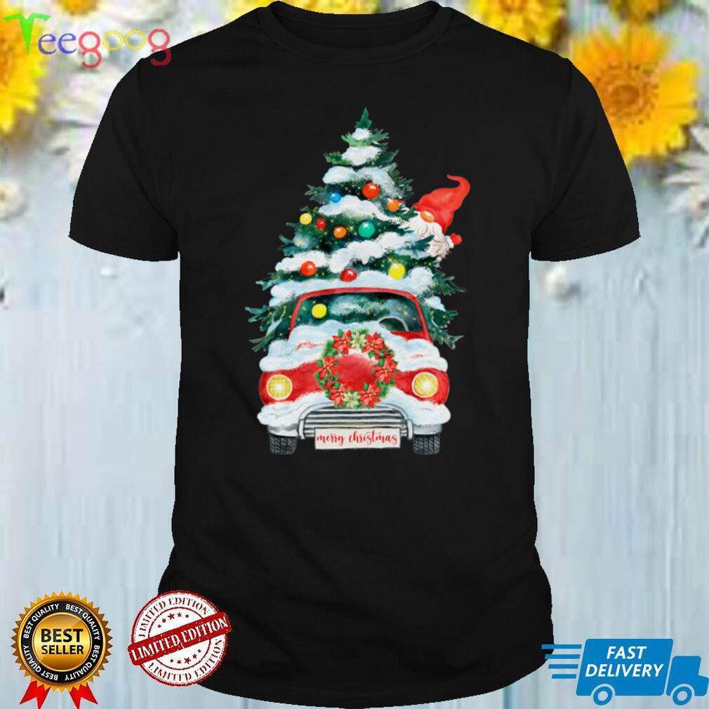 Merry Christmas Gnomes Santa Truck Xmas Tree Lights Snow Long Sleeve T Shirt