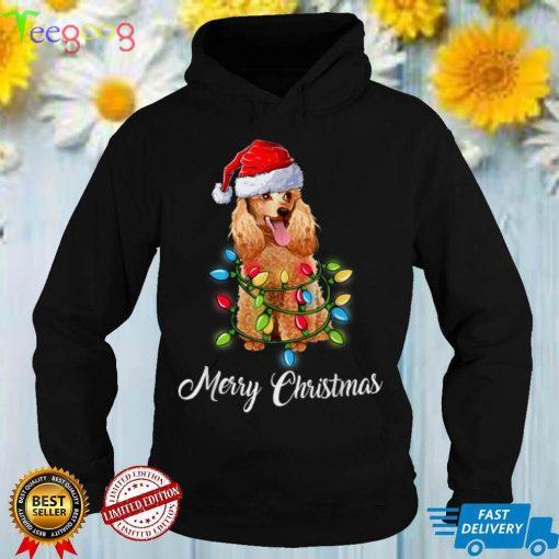 Merry Christmas Santa Poodle Light Xmas gifts Dog Lover T Shirt