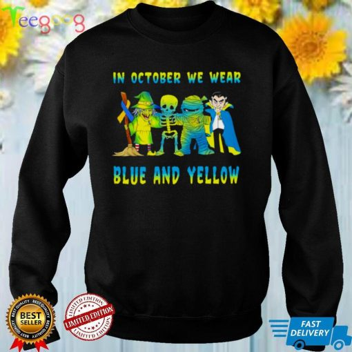 Skeleton In October we wear blue and yellow shirt