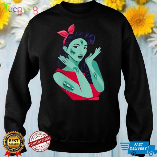 Spooky And Cool Halloween Shirt Zombie Pin Up Design Shirt