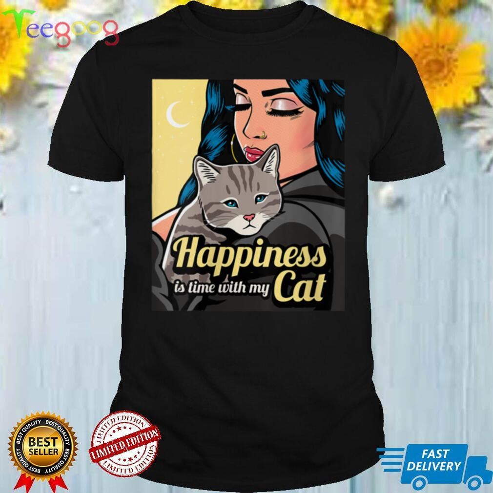 Womens Funny Cat Lover Cute Kitten Mom Vintage Retro Happiness Time V Neck T Shirt