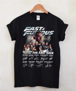 Paul Walker With Fast And Furious Movie Characters 20 Years 2001 2021 The Fast Saga Signatures shirt