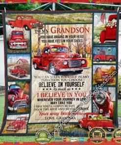 To My Grandson, Love Grandma – Red Truck Quilt